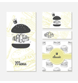 Set of cards with sketched burger Fast food vector image
