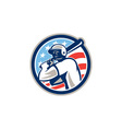 American Baseball Batter Hitter Circle Retro vector image vector image