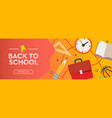back to school sale banner horizontal poster flat vector image vector image