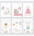 Birthday greeting and invitation cards with cakes vector image vector image