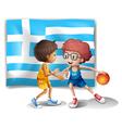 Boys playing basketball with the flag of Greece vector image vector image