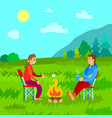 camping people couple having picnic on nature vector image