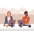characters female call center hotline online vector image vector image
