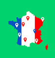 color map of france with pins on main cities vector image vector image