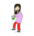 comic cartoon hippie man with bag of weed vector image vector image
