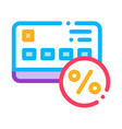 credit percentage card icon outline vector image vector image