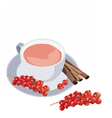 Cup of tea with cranberry and cinnamon vector image