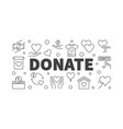 donate outline horizontal banner or vector image vector image