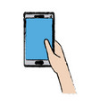 drawing hand holding smartphone device tecgnology vector image