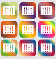 Equalizer icon Nine buttons with bright gradients vector image vector image