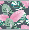 exotic leaves seamless pattern gray background vector image