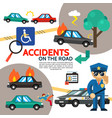 flat road accident poster vector image