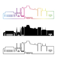 Fresno V2 skyline linear style with rainbow vector image vector image