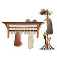 Furniture in dressing room coat hooks in hallway vector image