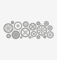 gears set linear style drawing vector image