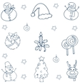 Hand draw christmas collection doodle vector image vector image