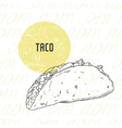 hand drawn taco vector image
