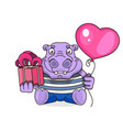 happy birthday card with cute hippo vector image
