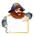happy pirate pointing at sign vector image vector image