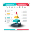 infographic design with pyramid and data flow web vector image vector image