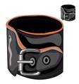 Leather mens bracelet with a buckle vector image