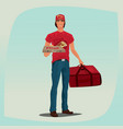 man holding pizza box and courier bag vector image vector image