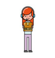 operator girl with cardboard box online shopping vector image vector image