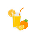 orange juice in glass with green straw and ripe vector image