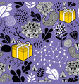 seamless background with gift box and nature vector image vector image