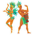 set of brazilian samba dancers carnival vector image