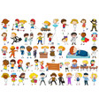 set simple characters vector image