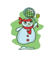 Snowman style character art vector image vector image