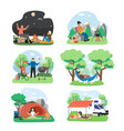 summer bbq picnic scene set flat isolated vector image vector image