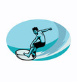 surfer riding waves vector image vector image
