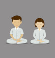 thai man and woman meditation collections vector image