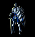 thin blue line knight vector image vector image