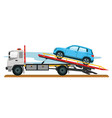 tow truck with car vector image vector image