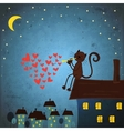 Valentines day background with cat and heart vector image