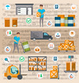 warehouse management and delivery logistics set vector image