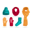 winter knitted accessories set vector image