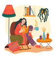 woman girl character sitting in sofa home and read vector image vector image