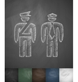 two police officers icon Hand drawn vector image