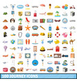100 journey icons set cartoon style vector image vector image