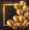 3d glossy golden ballons with frame and confetti vector image vector image