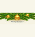 beautiful merry christmas leaves and golden balls vector image vector image