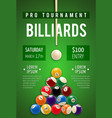billiard poster for snooker and pool sport game vector image vector image