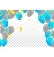 blue balloons colored confetti with ribbons and vector image vector image
