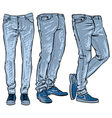blue jeans set denim clip art sketch vector image vector image