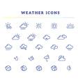 blue weather theme icon set on white back vector image