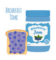 Blueberry jam in glass jar toast with jelly